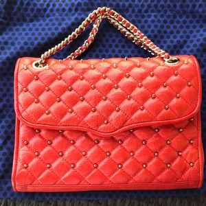 EUC Rebecca Minkoff Studded Quilted Persimmon Bag